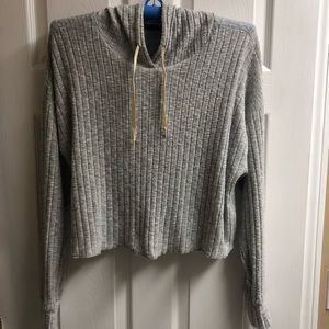 Out From Under Light Grey Cropped Hoodie